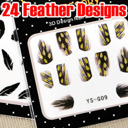 Wholesale Nail Polish Fashion Decoration - 24 Style Feather Nail Decal Sticker 3D Nail Art Wrap Tip Tips Acrylic Gel Polish Decoration DIY NEW FASHION DESIGN HOT SALE * 120pcs lot