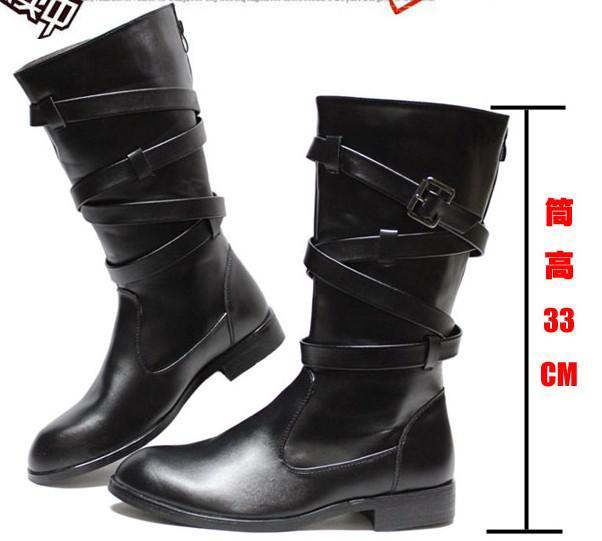 Cheap Men'S Shoes Knee High Boots,Cool Back Zipper Buckle Straps ...