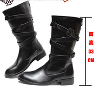 Wholesale Cheap Buckled Boots - Cheap Men's Shoes Knee-High Boots,Cool Back Zipper Buckle Straps Leather Casual Boots,US Size 6.5-10