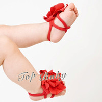 Wholesale Toddler Girl Feet - 30pcs baby Sandals baby Barefoot Sandals Feet flower shoes girls Toddler Shoes baby shoes flowers
