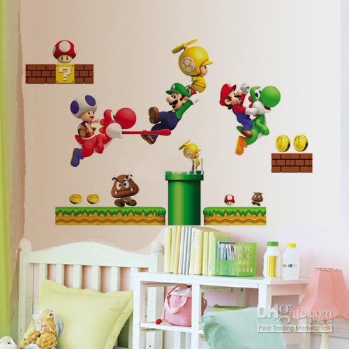REMOVABLE SUPER MARIO Wall Sticker Decal Kids Wall Stickers Decals Nursery  Decor DM5768