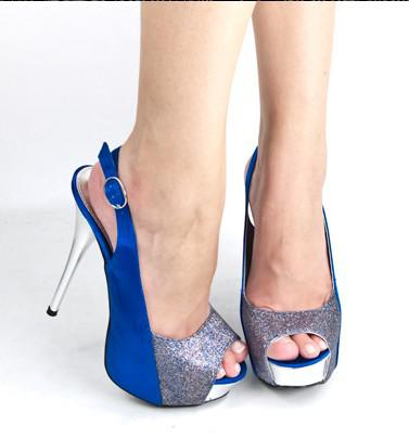 Royal Blue Open Peeptoe Silver High Heel Platform Slingback ...