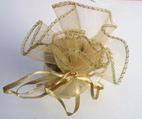 Wholesale organza gift round - 100 Pcs Gold Round Organza Gift Bag Wedding Favor Party 25cm Diameter New
