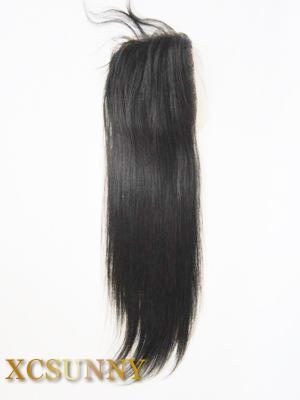 Vente chaude 8-20 Pouce Droite Soie 100% Brésilienne Vierge Remy Partie de Cheveux Humains Partie Supérieure En Soie À Base de Dentelle 4 * 4 BLC007