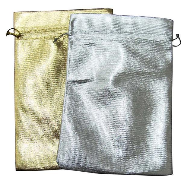 100 Pcs Or ou Argent Sac Cadeau En Tissu 9x12 cm Faveur De Mariage Nouveau Or