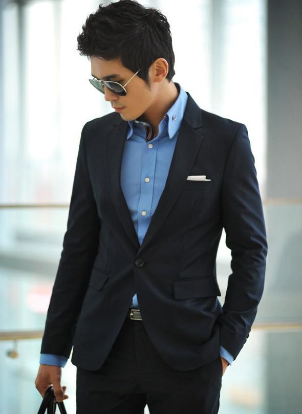 2017 Mens Blue Suits Deduction Collar Mens Warehouse Slim Suit Set ...