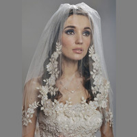 Wholesale Elbow Length Crystal Edged Veil - 2016 Bridal Veil Elbow Length Two layer 2T with comb Lace Appliqued Crystal Vintage Romantic Wedding Hair Accessory real