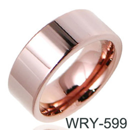 Wholesale Tungsten Rose Rings For Men - PVD Rose 18K Tungsten Wedding Ring for Asia Men 8mm Width WRY-599
