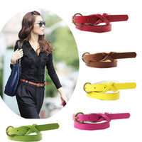 Wholesale Thin White Leather Belt - Beautiful New Fashion Cross Buckle Waistband PU Leather Thin Belt 9colors #6056