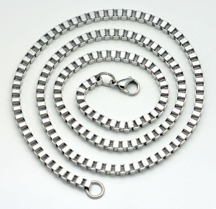 Promoción de ventas de alta calidad Collar de acero inoxidable de cadena de caja de regalo de cumpleaños de los hombres 4 MM 18 '' / 20/22/24/26/28/30 / 32-36 pulgadas envío de la gota ZX471