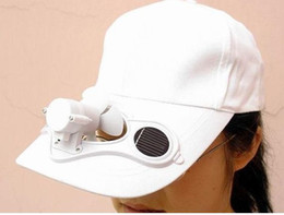 Wholesale Cap Solar Energy - Wholesale -5 pcs lot Solar Fan cap energy Women's summer men's hats