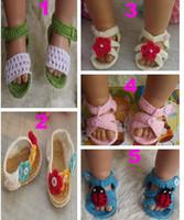 pamuklu yenidoğan sandaletleri toptan satış-Yumuşak 0-12 m Yaz Yenidoğan Bebek Tığ el yapımı Örgü Patik pamuk ipliği sandalet ayakkabı Toddler