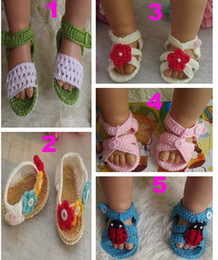 Wholesale Knitted Baby Girls Sandals - Soft 0-12m Summer Newborn Baby Crochet handmade Knitting Booties cotton yarn sandals shoes Toddler