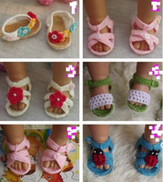 sapatos de bebê tricô crochet venda por atacado-Sapatos de verão crianças sandálias de Algodão de fios Criança caminhada Bebê Recém-nascido Crochet Knitting Booties artesanais