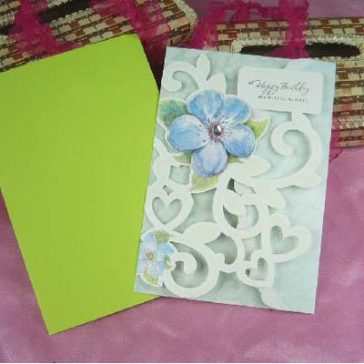 Fashion Handmade Flower Stenciled Birthday Greeting Cards – Handmade Greeting Cards for Birthday