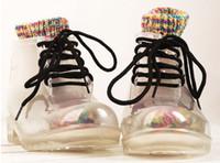 Wholesale Free Stylish Heel - Free transportation stylish transparent rubber boots and shoes to send rainbow socks