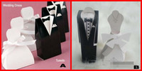 Wholesale Tuxedo Bride Groom Candy - Stock 2017 Fashion White&Black Flower Bride Groom Tuxedo Wedding Candy Favor Boxes Box Gifts 100 lot