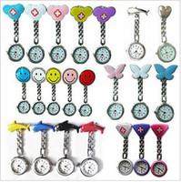 enfermagem relógio relógio médico venda por atacado-Relógio de metal silicone enfermeira Nurse Medical Brooch Clip Relógios de bolso para modelos enfermeira Doctor Mix