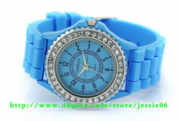 Wholesale Crystal Blue Candy - New arrival geneva rhinestone watches Unisex students Candy silicone wirstwatch crystal diamond charm jewelry holiday gift
