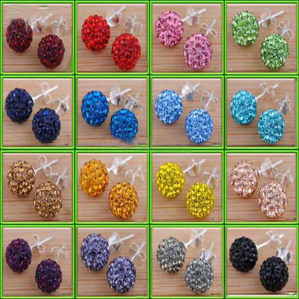60pairs=120pcs 6mm/8mm/10mm/12mm Crystal Rhinestone Disco Pave Ball Beads Earring Studs Fashion Ladies Earring