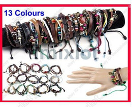 Wholesale Womens Surfer Bracelet - 48pcs wholesale Hot Fashion Jewelry Womens Mens Leather Braided Hemp Surfer Belt Bracelet Wristband Free Ship [B374-B389 M*48]