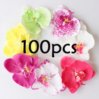 "Wholesale Wholesale Hawaii Flowers Hair Clips - 100pcs 3"" Mixed Color Fabric Orchid Flower Hair Clip Bridal Wedding Hawaii Party"