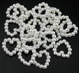 Wholesale Heart Shape Pearl Beads - 200pcs White Pearl Bead Shaped Heart For Wedding Cardmaking Craft 11mm