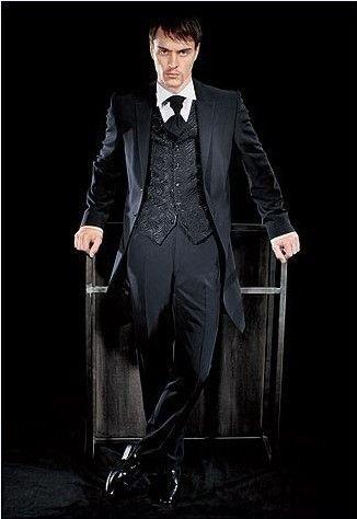 Tuxedos de marié / marié de mariage de qualité supérieure noire neuve avec un seul bouton Costumes des mariés veste + pantalon + cravate + gilet KO: 102