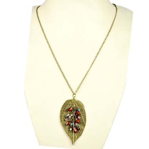iron leaf charm pendant necklace with red and colored rhinestones,great design.NL-1795