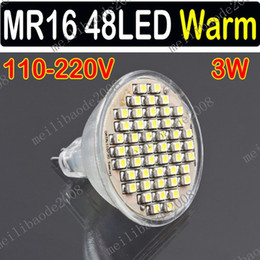 Wholesale Smd 3528 Bulb - 10pcs G57 3W MR16 48 3528 SMD LED 48LED Spot Light Lamp Bulb Warm White 110V 220V Lighting