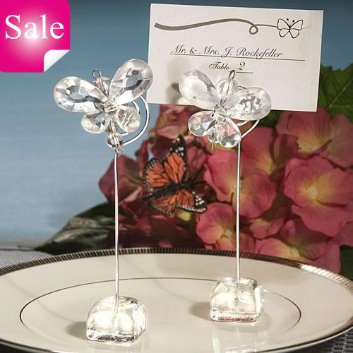무료 배송 * / 절묘한 흰색 크리스탈 나비 장소 카드 홀더 결혼식 호의