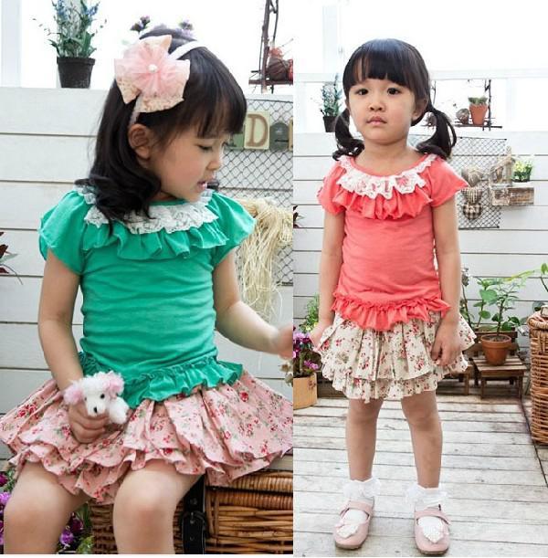 meninas novas rendas plissado beira decorativa T-shirt de manga curta colete crianças overshirt garoto vestido SZ52