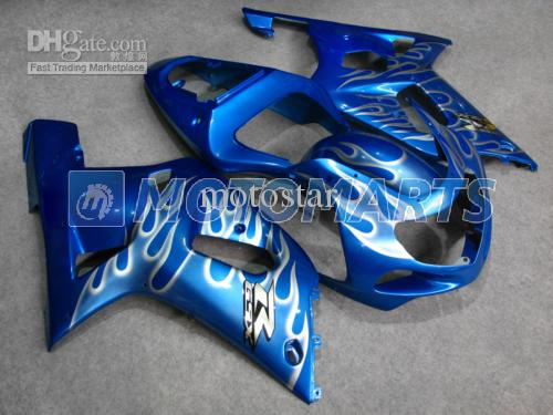 Carenado de la carrocería azul plata PARA GSXR 600 750 K1 2001 2002 2003 GSXR600 GSXR750 01 02 03 R600 R750