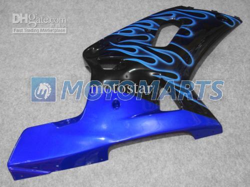 Siyah kaplama kitinde mavi alev GSXR 600 750 K1 2001 2002 2003 GSXR600 GSXR750 01 02 03 GSX-R600