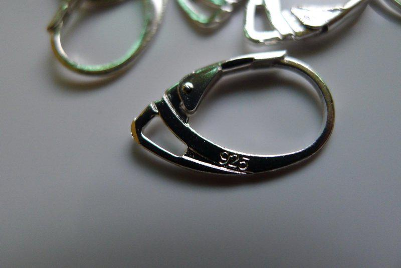 Pendientes de palanca enchapada Pendientes de gancho de plata esterlina 925 con resultados de joyería de 925 logo