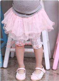 Wholesale Pantskirt Leggings - 2016 new children girls lace bowknot pantskirt leggings skinny tights short pants trousers KZ56