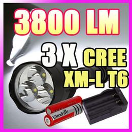 Wholesale Trustfire Mini Xml T6 - wholesale TrustFire 3x CREE XML XM-L T6 3800 Lumen LED Flashlight 5 Mode 18650 Charger SET