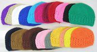 Wholesale Orange White Crochet Hats - 100% cotton Crochet Kufi Hat Women Warm Knitted Winter hats Ski beanie cap Gorro Big Size Kufi Caps