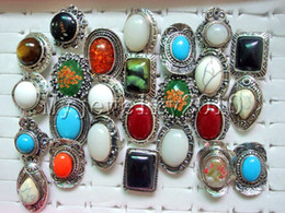 Assorted Wholesale Rings Canada - Rings Large Assorted Gemstone Stone Silver Tone Ring 17-19mm adjustable