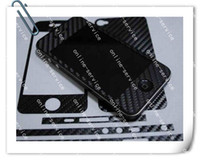 Wholesale Carbon Iphone 4s Vinyl - Carbon Fiber Vinyl Skin Full Body Stickers Cover Guard By Dhl For Iphone 4 4G 4S With Logo Cut