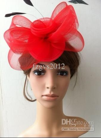 Evening Cocktail Fascinator red big Feather Fascinators Party Hair Clip  Flower ... e58d8d9a129