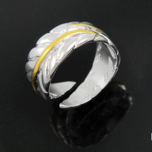 925 Silver Fashion Feather Rings Gold Swan Feather Womens Rings