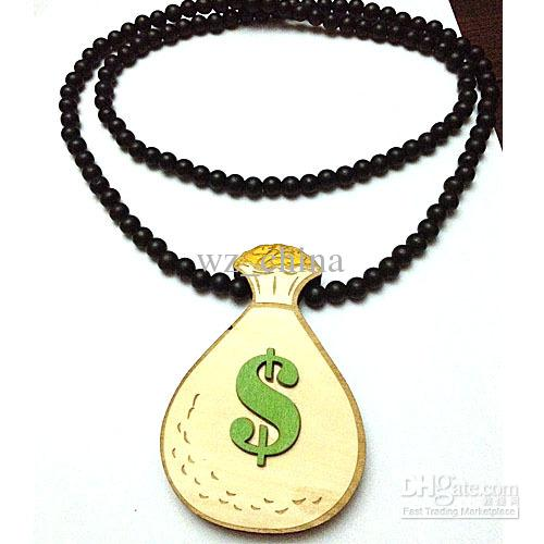 Hotsale!money bag GOODWOOD Necklace Pendant Good Wood Beads Rosary Chain Necklace