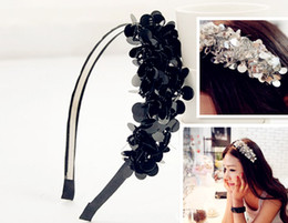 Wholesale Ladies Fabric Headbands - Girl's Hairhand Sequin Acrylic Beaded Ladies Hair Hoop Hairjewellery