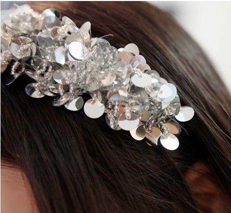 Tjejs Hairhand Sequin Acrylic Beaded Ladies Hair Hoop Hairjewellery