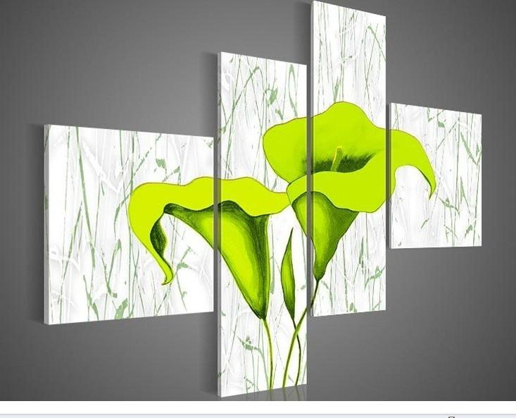 Acquista dipinti a mano pallido gigli verdi fiori astratti for Dipinti ad olio fiori