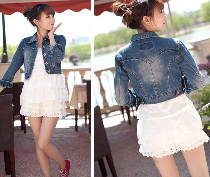 Women Jeans Jean Jacket Lapel Short Denim Jacket Coat Womens New ...
