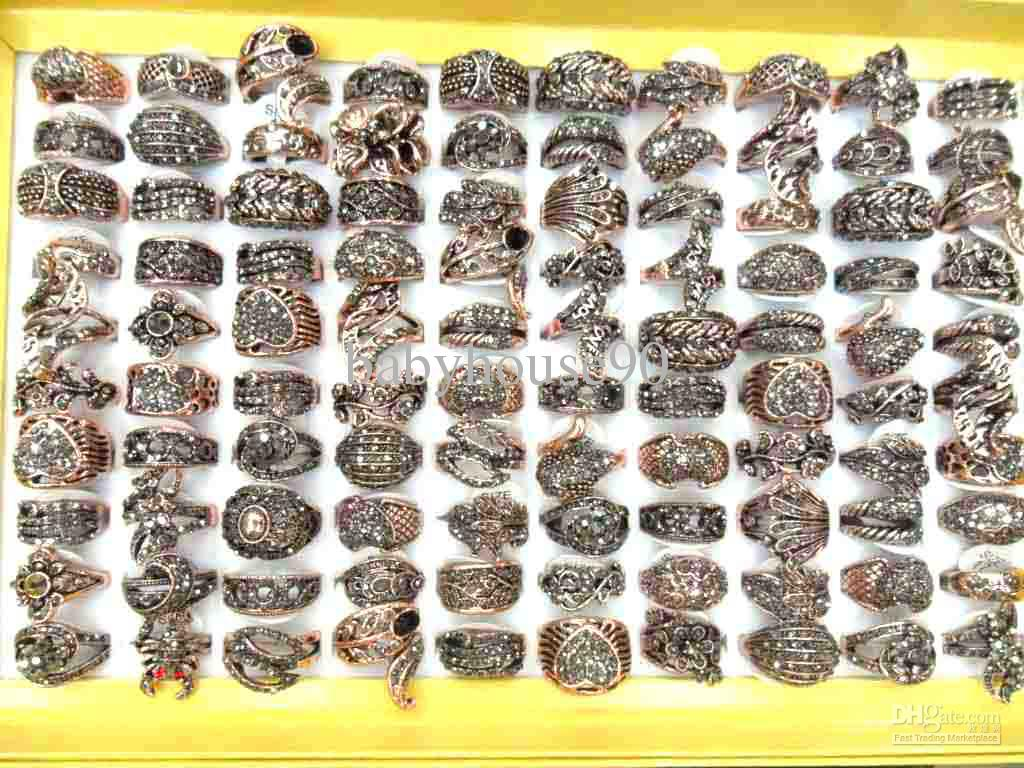 2018 Hot Diamond Rings Many Sizes Designs Mixed Antique Gold Rings ...