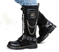 Wholesale Skull Knee Boots - Men's Leather Shoes Knee-High Boots,Hot Back Side Skull Pocket Lace-Up Leather Casual Boots,US Size 6.5-10
