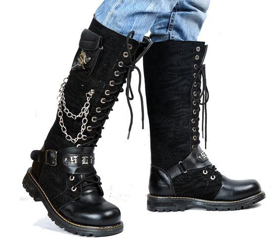 Men's Leather Shoes Knee-High Boots,Hot Back Side Skull Pocket Lace-Up Leather Casual Boots,US Size 6.5-10